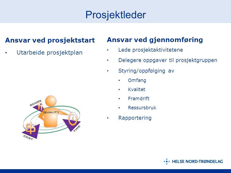 Prosjektleder Ansvar ved prosjektstart Utarbeide prosjektplan Ansvar ved gjennomføring Lede prosjektaktivitetene Delegere oppgaver til prosjektgruppen
