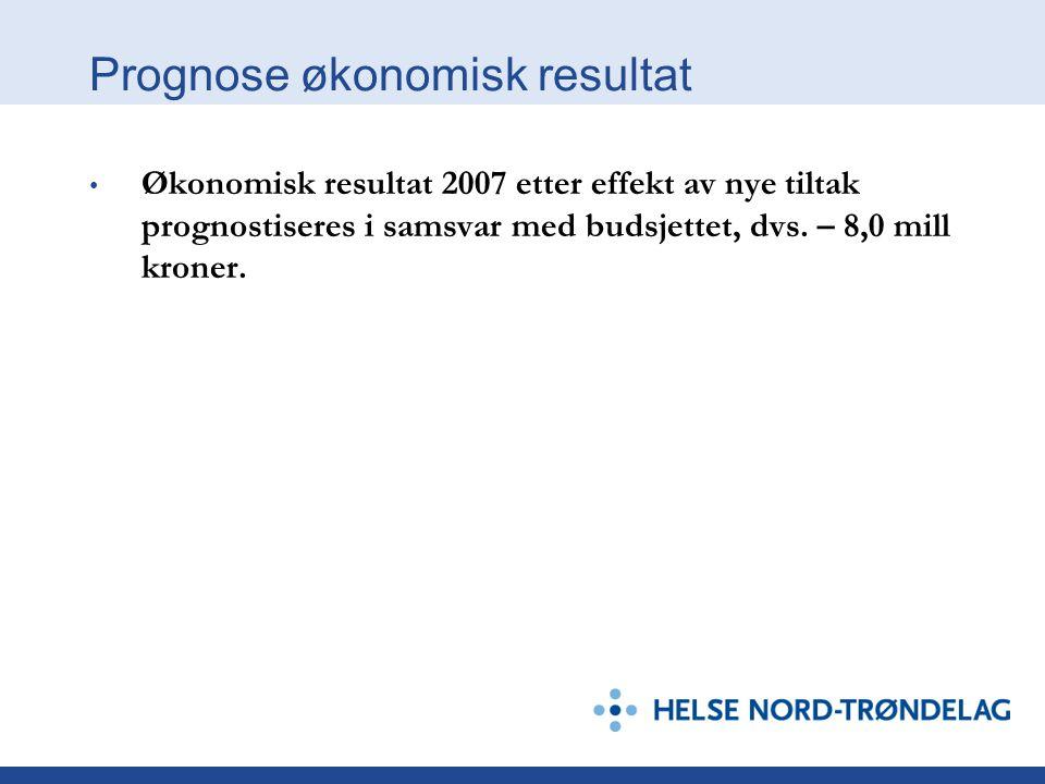 Prognose økonomisk resultat Økonomisk resultat 2007 etter effekt av nye tiltak prognostiseres i samsvar med budsjettet, dvs. – 8,0 mill kroner.