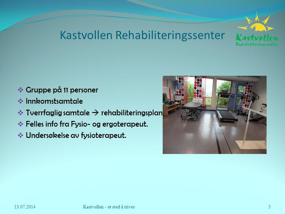 Kastvollen Rehabiliteringssenter  Gruppe på 11 personer  Innkomstsamtale  Tverrfaglig samtale  rehabiliteringsplan  Felles info fra Fysio- og erg