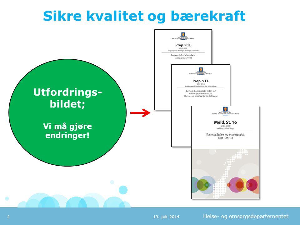 Helse- og omsorgsdepartementet Sikre kvalitet og bærekraft 13. juli 20142 Utfordrings- bildet; Vi må gjøre endringer!