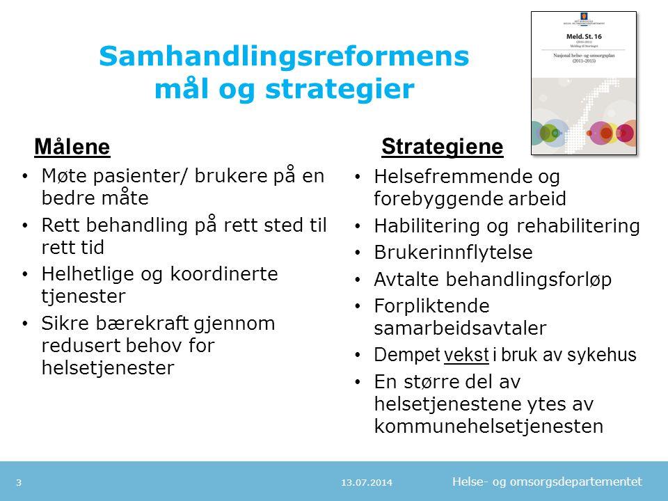 Helse- og omsorgsdepartementet Samhandlingsreformens mål og strategier Møte pasienter/ brukere på en bedre måte Rett behandling på rett sted til rett