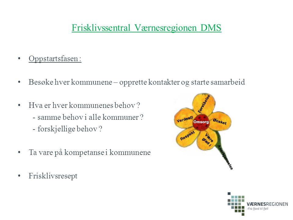 Frisklivssentral Værnesregionen DMS Oppstartsfasen : Besøke hver kommunene – opprette kontakter og starte samarbeid Hva er hver kommunenes behov ? - s