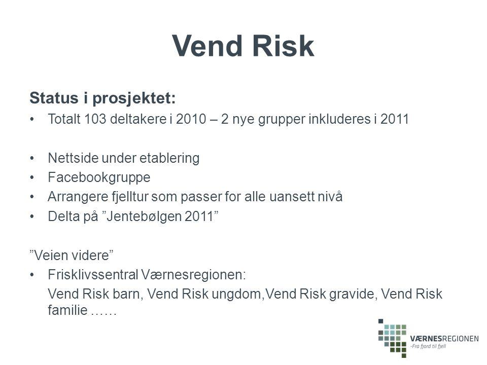 Status i prosjektet: Totalt 103 deltakere i 2010 – 2 nye grupper inkluderes i 2011 Nettside under etablering Facebookgruppe Arrangere fjelltur som pas