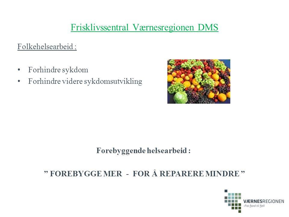 """Frisklivssentral Værnesregionen DMS Folkehelsearbeid ; Forhindre sykdom Forhindre videre sykdomsutvikling Forebyggende helsearbeid : """" FOREBYGGE MER -"""