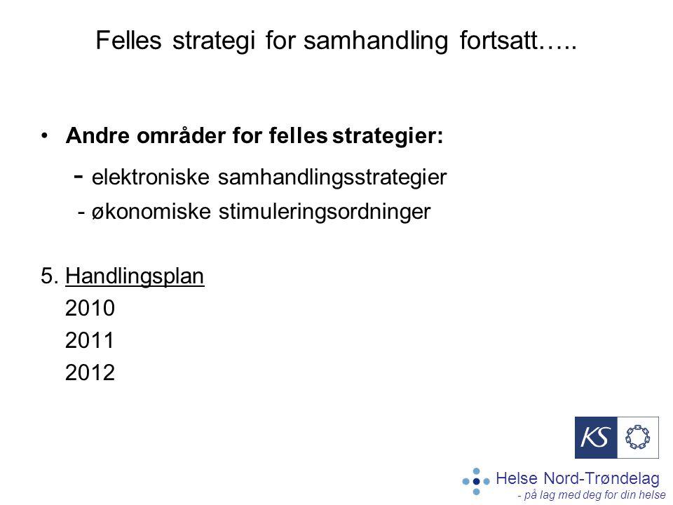 Helse Nord-Trøndelag - på lag med deg for din helse Felles strategi for samhandling fortsatt….. Andre områder for felles strategier: - elektroniske sa