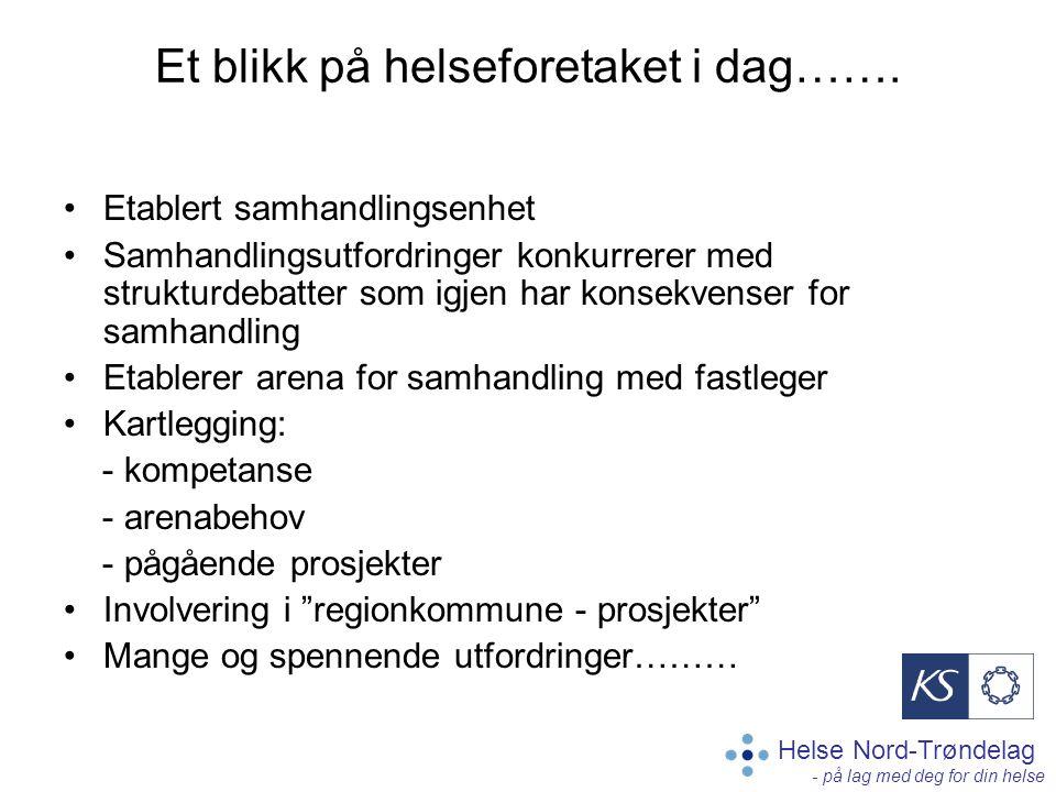 Helse Nord-Trøndelag - på lag med deg for din helse Et blikk på helseforetaket i dag……. Etablert samhandlingsenhet Samhandlingsutfordringer konkurrere