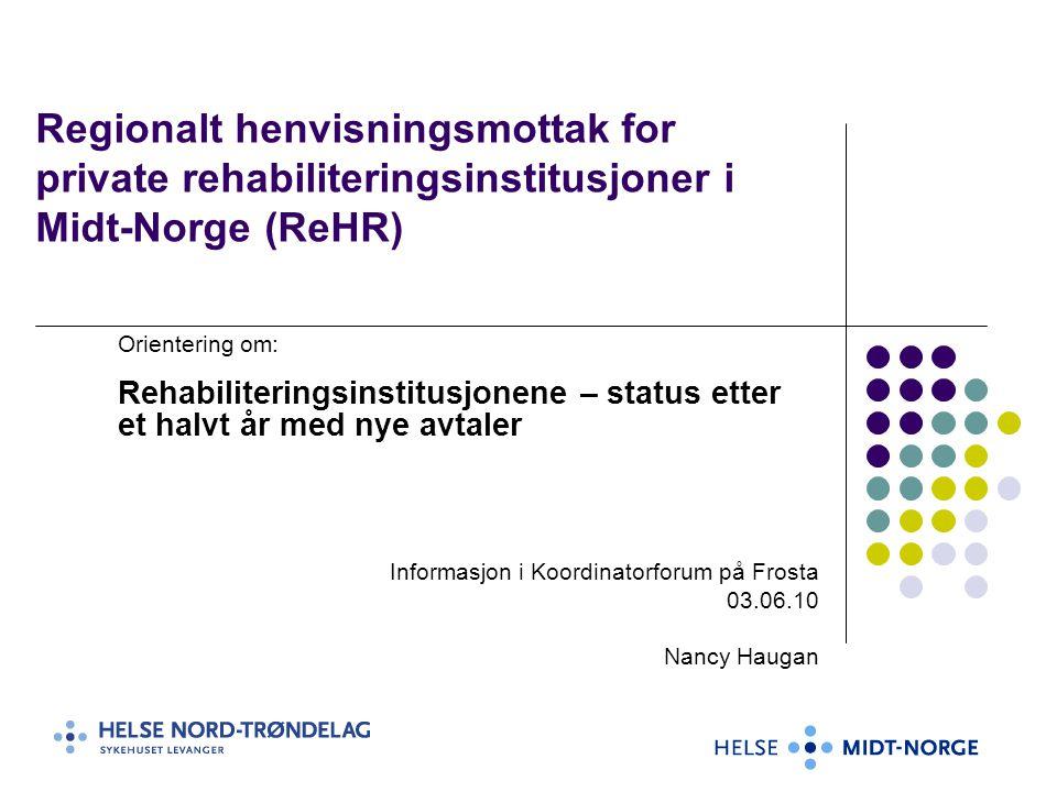 Private rehabiliteringsinstitusjoner som har fått avtale med HMN om spesialisert rehabilitering 2010-2013 Namdal (Ortopedi)(8) Kastvollen (nevrologi,ortopedi)(23) Meråker (habilitering, hjerneslag, revmatologi, ortopedi) (30+5) Betania, Malvik (psykiatri, hjerneslag, ortopedi, amputasjoner, revmatologi, hjerneskader) (22+18) Coperiosenteret (smerte, ME, tinnitus)(0+10) Selli (Hjerte, lunge,kreft,gastro,ortopedi)(25+10) Røros (hjerte, lunge, overvekt) (60) Muritunet (overvekt, lunge, ortopedi)(64)