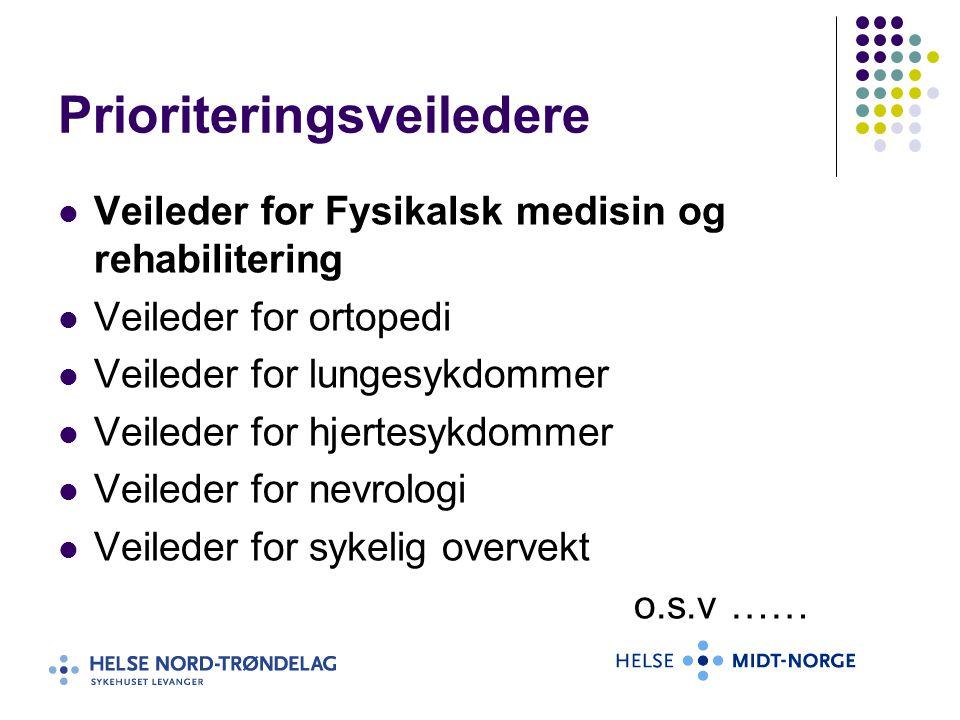 Prioriteringsveiledere Veileder for Fysikalsk medisin og rehabilitering Veileder for ortopedi Veileder for lungesykdommer Veileder for hjertesykdommer