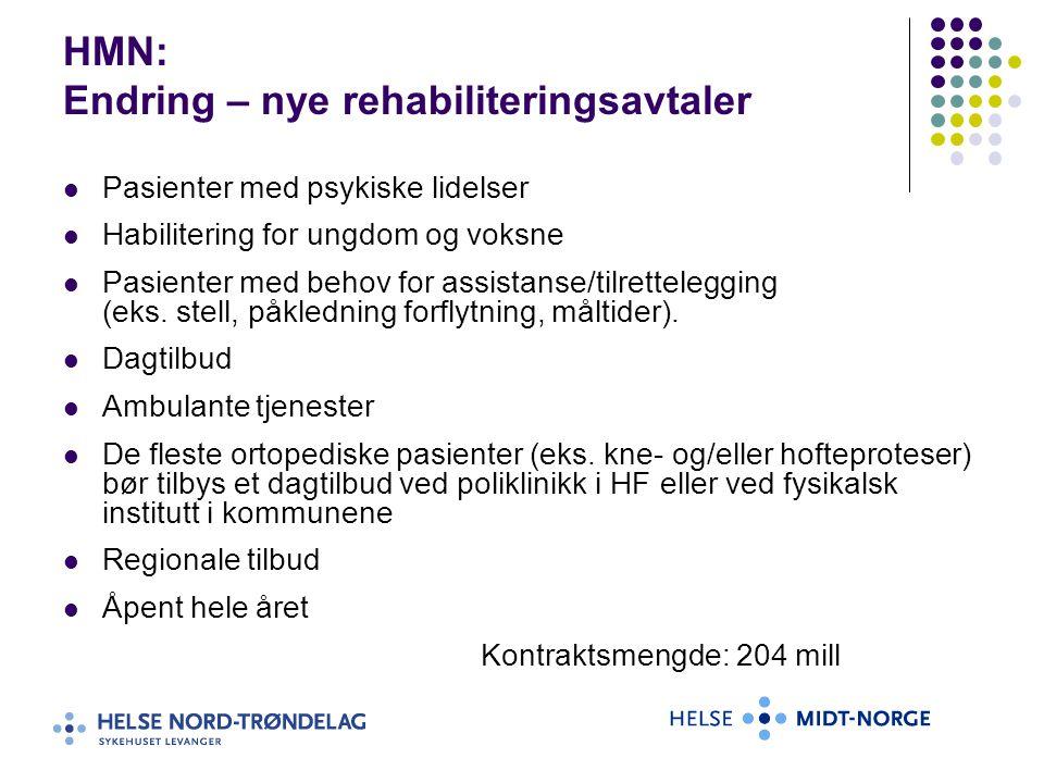 HMN: Endring – nye rehabiliteringsavtaler Pasienter med psykiske lidelser Habilitering for ungdom og voksne Pasienter med behov for assistanse/tilrett
