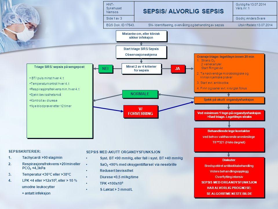 Sykehuset Namsos EQS dok:17543 SN- Identifisering, overvåking og behandling av sepsis Gyldig fra 25.012013 Versjon 1.0