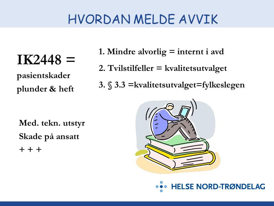 HVORDAN MELDE AVVIK IK2448 = 1.Mindre alvorlig = internt i avd 2.