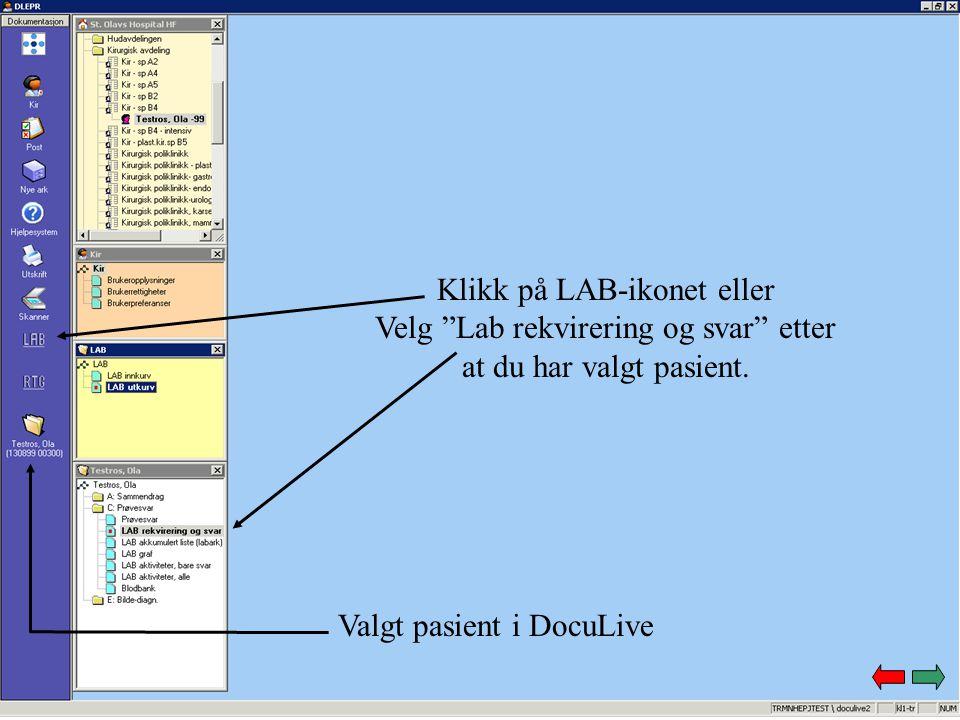 """Klikk på LAB-ikonet eller Velg """"Lab rekvirering og svar"""" etter at du har valgt pasient. Valgt pasient i DocuLive"""