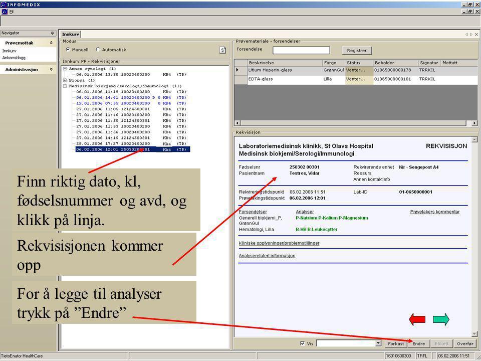 ROS-bildet kommer opp og vi klikker på de analysene som skal legges til Analysen(e) vises sammen med de andre valgte analysene