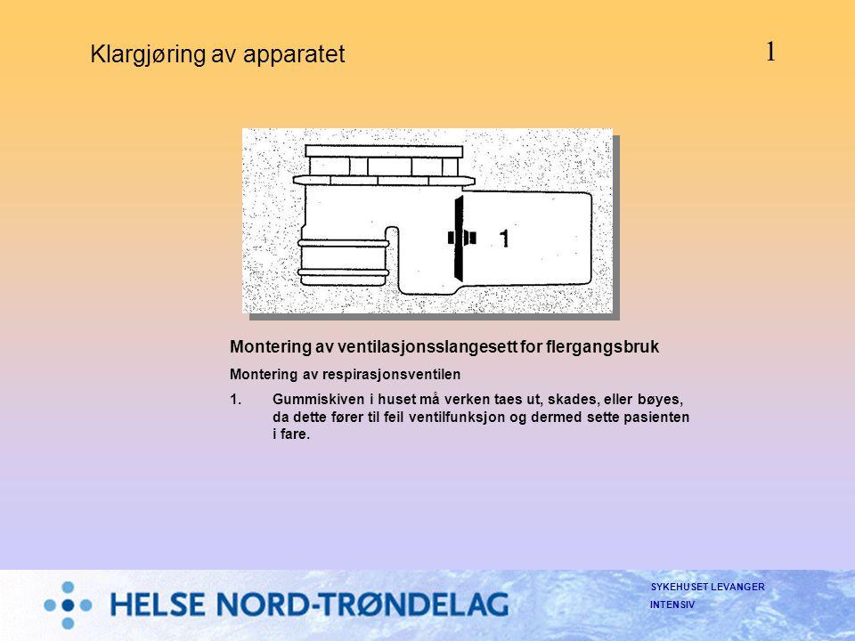 SYKEHUSET LEVANGER INTENSIV Klargjøring av apparatet Montering av ventilasjonsslangesett for flergangsbruk Montering av respirasjonsventilen 1.Gummisk