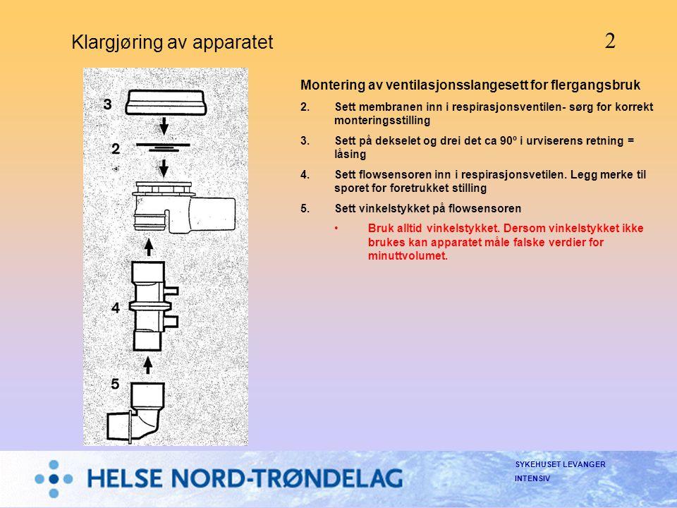 SYKEHUSET LEVANGER INTENSIV Klargjøring av apparatet Montering av ventilasjonsslangesett for flergangsbruk 2.Sett membranen inn i respirasjonsventilen
