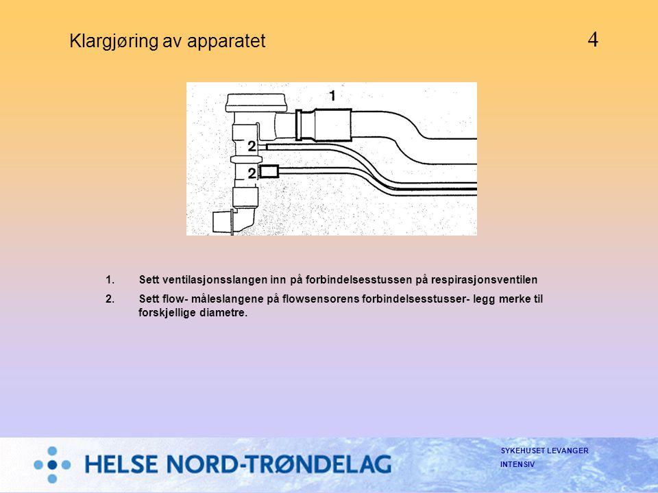 SYKEHUSET LEVANGER INTENSIV Klargjøring av apparatet 1.Sett ventilasjonsslangen inn på forbindelsesstussen på respirasjonsventilen 2.Sett flow- målesl
