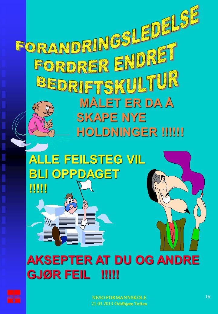 NESO FORMANNSKOLE 21.03.2013 Oddbjørn Toften 16 MÅLET ER DA Å SKAPE NYE HOLDNINGER !!!!!! MÅLET ER DA Å SKAPE NYE HOLDNINGER !!!!!! ALLE FEILSTEG VIL