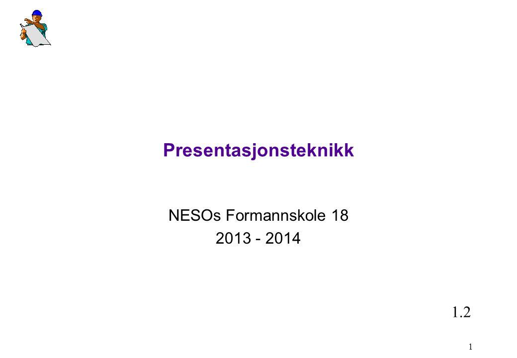 Presentasjonsteknikk NESOs Formannskole 18 2013 - 2014 1 1.2