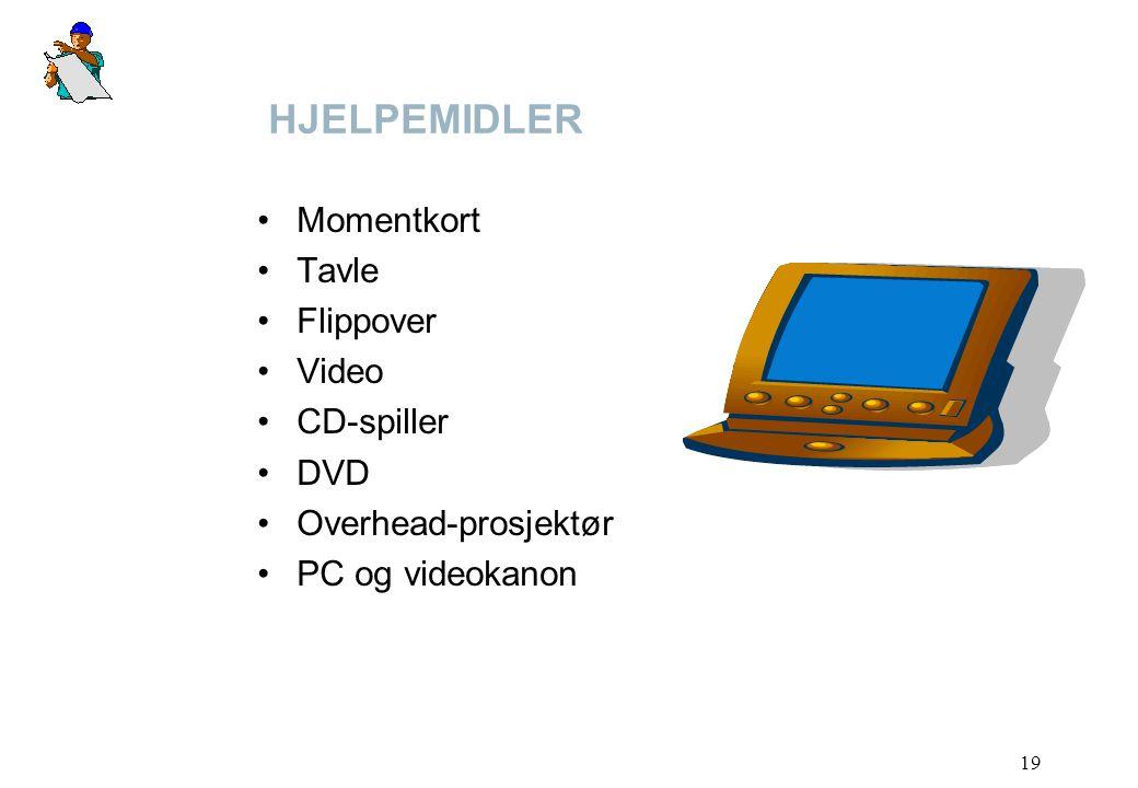 19 HJELPEMIDLER Momentkort Tavle Flippover Video CD-spiller DVD Overhead-prosjektør PC og videokanon