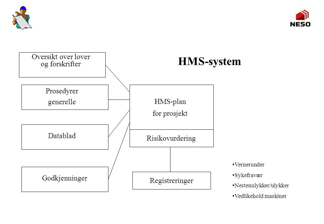 HMS-system HMS-plan for prosjekt Oversikt over lover og forskrifter Prosedyrer generelle Datablad Godkjenninger Risikovurdering Registreringer Verneru