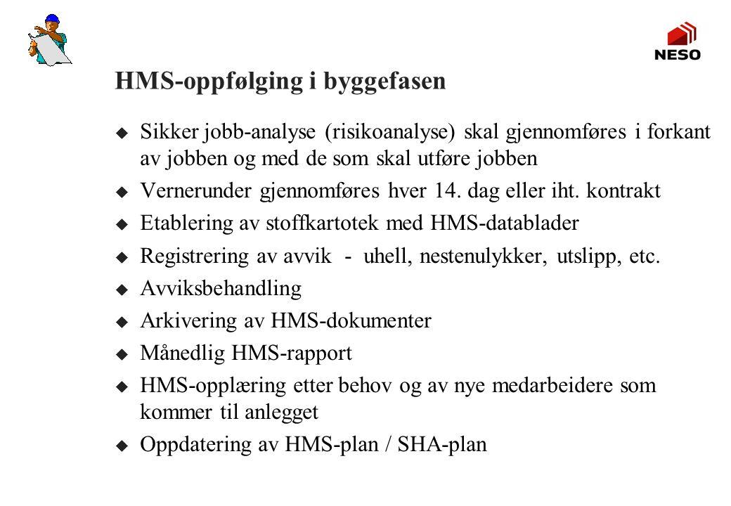 HMS-oppfølging i byggefasen u Sikker jobb-analyse (risikoanalyse) skal gjennomføres i forkant av jobben og med de som skal utføre jobben u Vernerunder