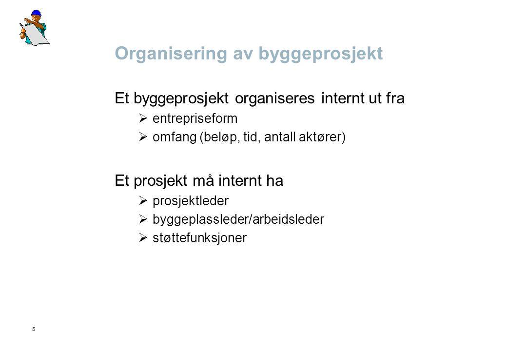 5 Organisering av byggeprosjekt Et byggeprosjekt organiseres internt ut fra  entrepriseform  omfang (beløp, tid, antall aktører) Et prosjekt må inte