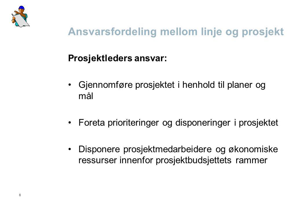6 Ansvarsfordeling mellom linje og prosjekt Prosjektleders ansvar: Gjennomføre prosjektet i henhold til planer og mål Foreta prioriteringer og dispone