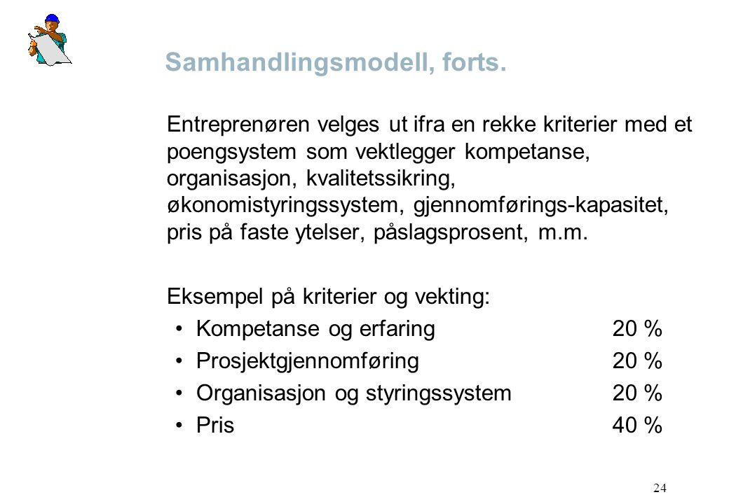 24 Samhandlingsmodell, forts. Entreprenøren velges ut ifra en rekke kriterier med et poengsystem som vektlegger kompetanse, organisasjon, kvalitetssik