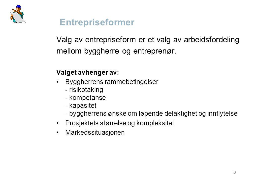 3 Entrepriseformer Valg av entrepriseform er et valg av arbeidsfordeling mellom byggherre og entreprenør. Valget avhenger av: Byggherrens rammebetinge