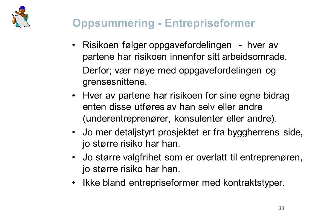 33 Oppsummering - Entrepriseformer Risikoen følger oppgavefordelingen - hver av partene har risikoen innenfor sitt arbeidsområde. Derfor; vær nøye med
