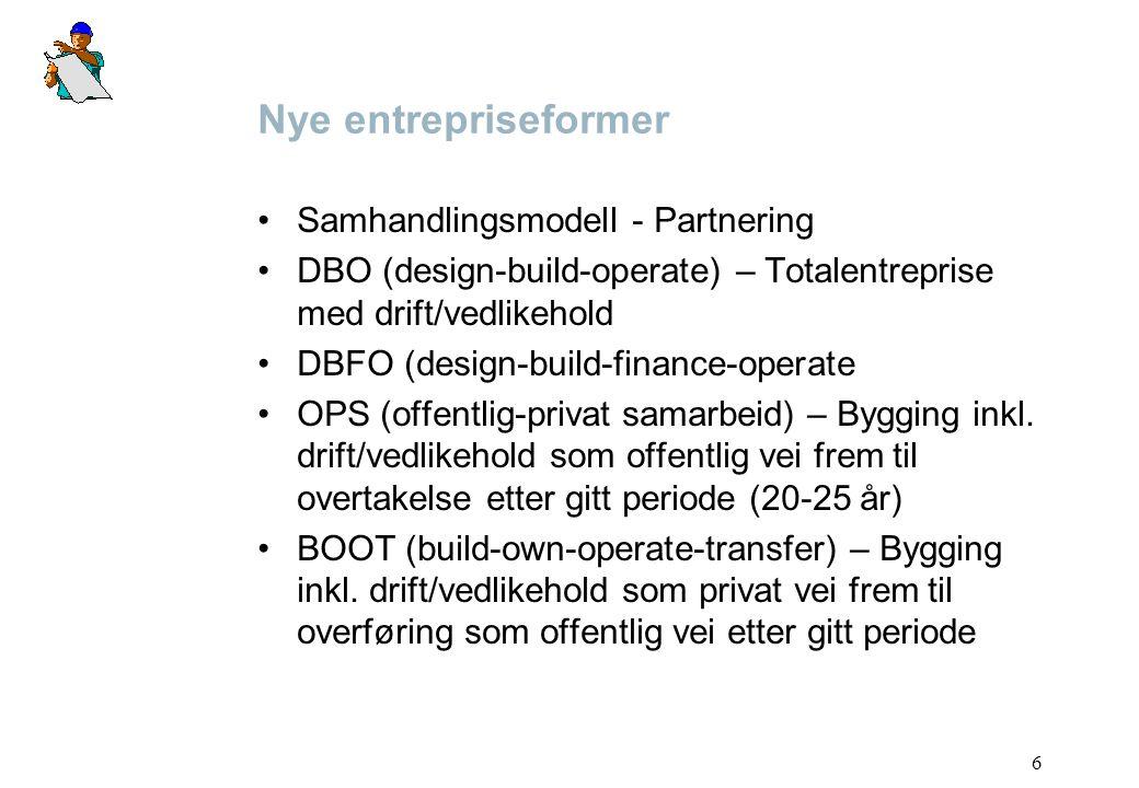 6 Nye entrepriseformer Samhandlingsmodell - Partnering DBO (design-build-operate) – Totalentreprise med drift/vedlikehold DBFO (design-build-finance-o