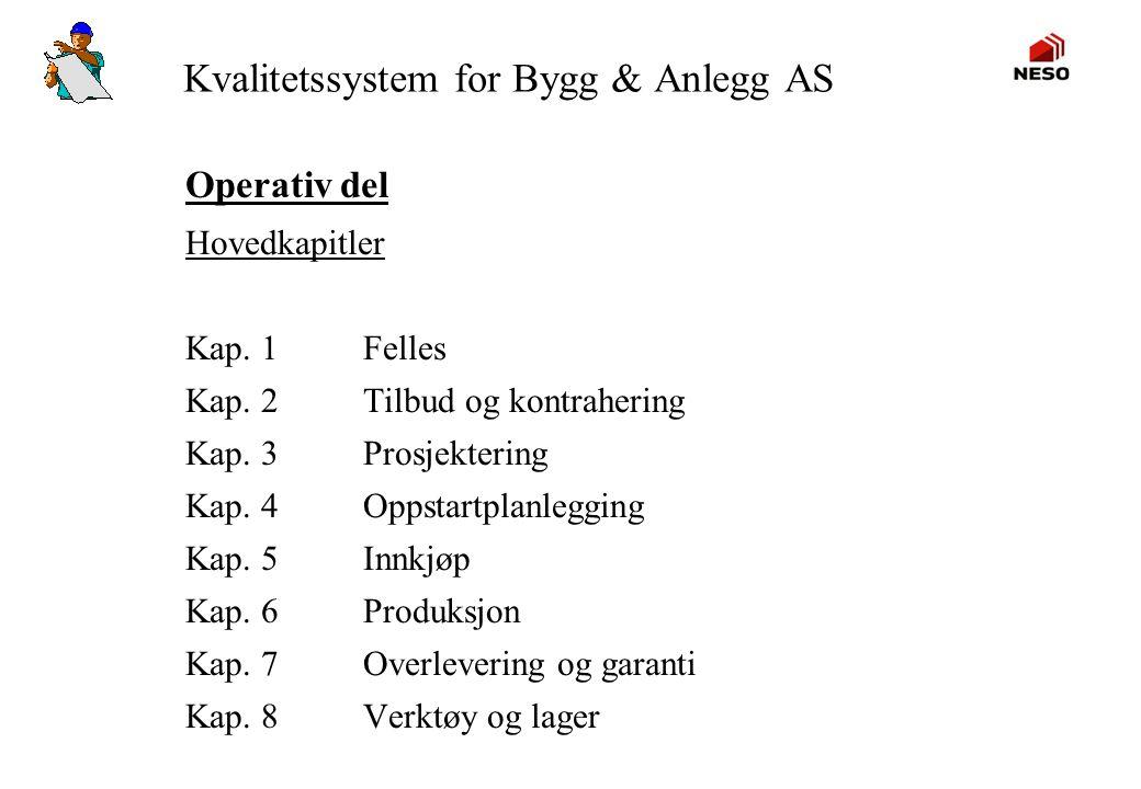 Kvalitetssystem for Bygg & Anlegg AS Operativ del Hovedkapitler Kap. 1Felles Kap. 2Tilbud og kontrahering Kap. 3Prosjektering Kap. 4Oppstartplanleggin