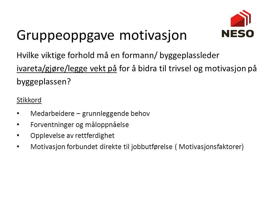 Gruppeoppgave motivasjon Hvilke viktige forhold må en formann/ byggeplassleder ivareta/gjøre/legge vekt på for å bidra til trivsel og motivasjon på by