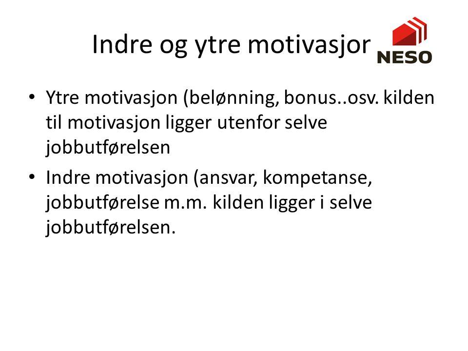 Indre og ytre motivasjon Ytre motivasjon (belønning, bonus..osv. kilden til motivasjon ligger utenfor selve jobbutførelsen Indre motivasjon (ansvar, k