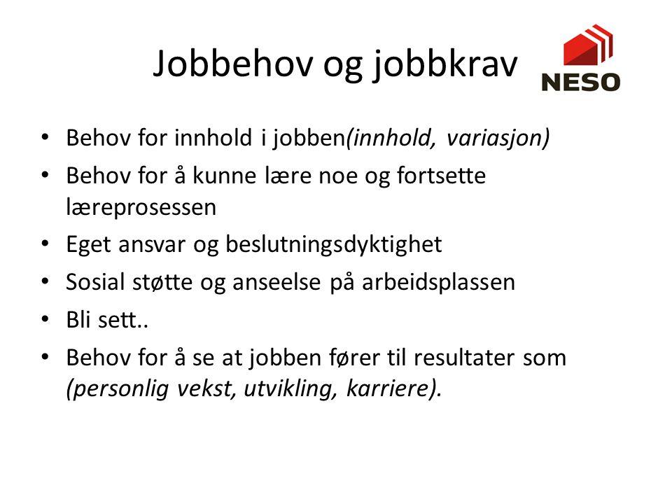 Jobbehov og jobbkrav Behov for innhold i jobben(innhold, variasjon) Behov for å kunne lære noe og fortsette læreprosessen Eget ansvar og beslutningsdy