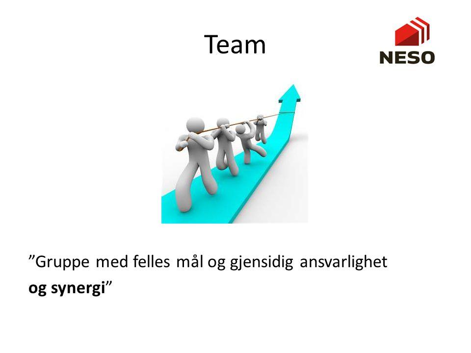 Arbeidsgrupper og team ArbeidsgrupperArbeidslag (team) Sterk, klart definert lederOmfordelte lederroller Individuelt ansvarIndividuelt og gjensidig ansvar Individuelle arbeidsprodukterKollektive arbeidsprodukter Formelle, strukturerte møterÅpne, problemløsningsorienterte møter Måler effektivitet indirekte (lønnsomhet)Måler effektivitet direkte (kollektivt arbeidsprodukt) Diskuterer, beslutter, delegererDiskuterer, beslutter og gjør jobben sammen