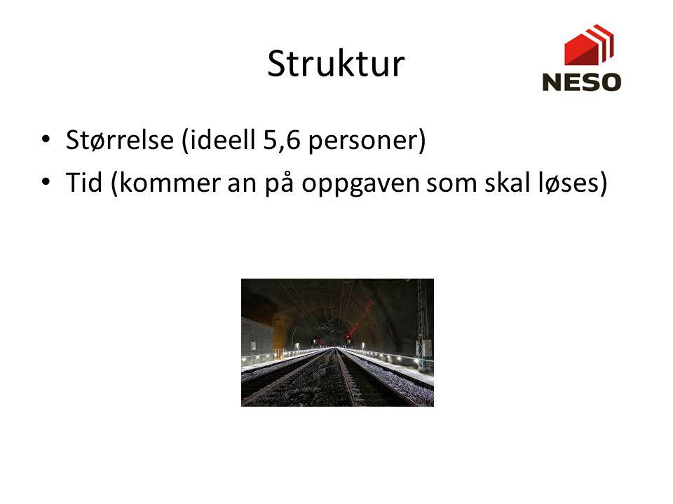 Struktur Størrelse (ideell 5,6 personer) Tid (kommer an på oppgaven som skal løses)
