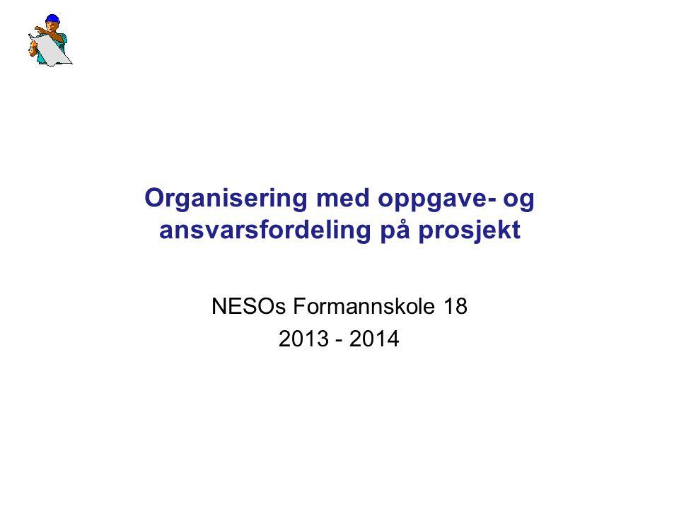 Organisering med oppgave- og ansvarsfordeling på prosjekt NESOs Formannskole 18 2013 - 2014