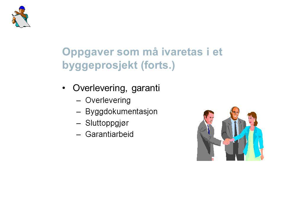 Oppgaver som må ivaretas i et byggeprosjekt (forts.) Overlevering, garanti –Overlevering –Byggdokumentasjon –Sluttoppgjør –Garantiarbeid