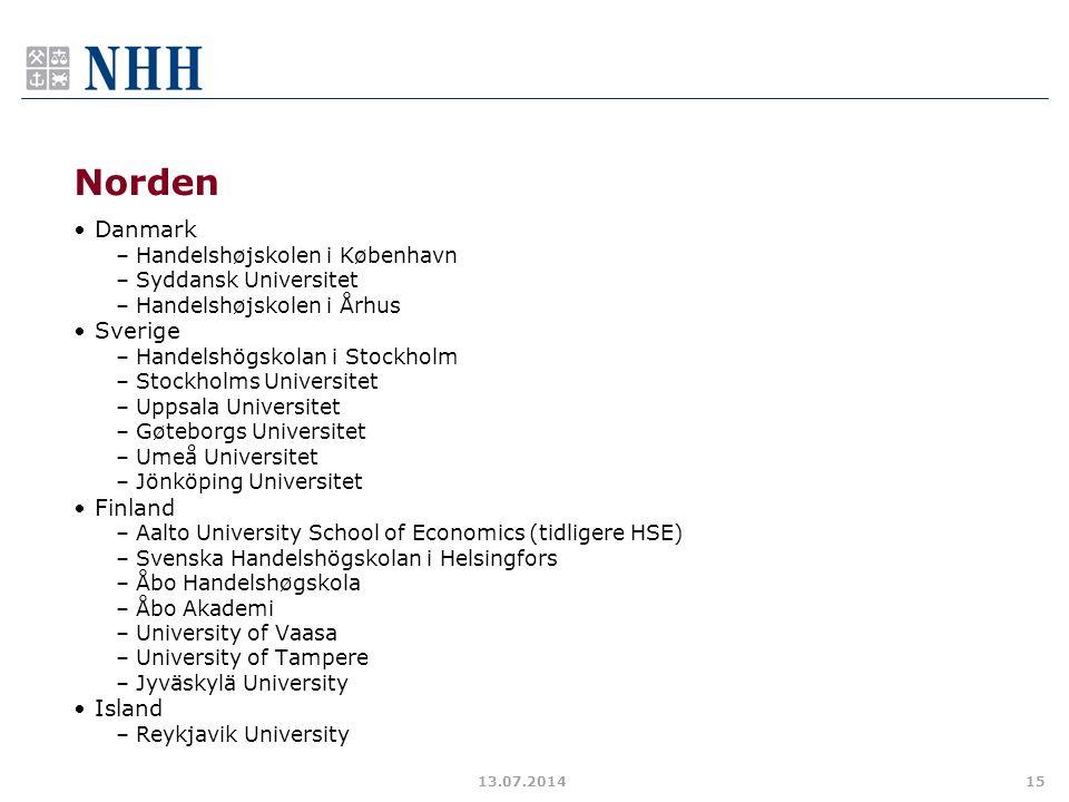 Norden Danmark –Handelshøjskolen i København –Syddansk Universitet –Handelshøjskolen i Århus Sverige –Handelshögskolan i Stockholm –Stockholms Univers