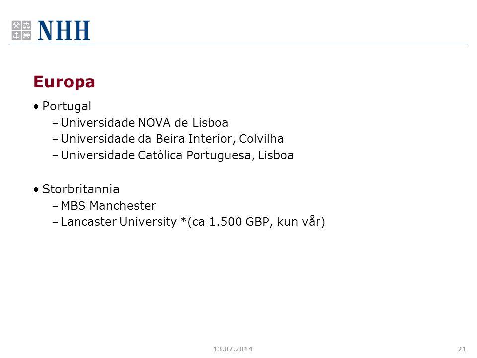 Europa Portugal –Universidade NOVA de Lisboa –Universidade da Beira Interior, Colvilha –Universidade Católica Portuguesa, Lisboa Storbritannia –MBS Ma