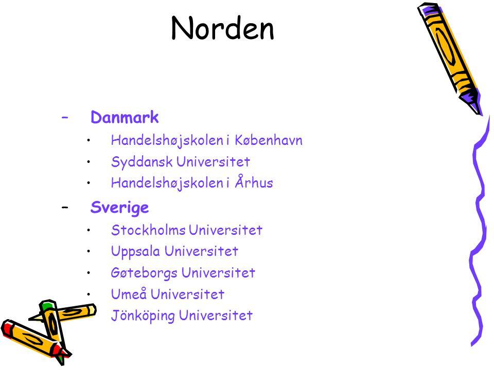 Norden –Danmark Handelshøjskolen i København Syddansk Universitet Handelshøjskolen i Århus –Sverige Stockholms Universitet Uppsala Universitet Gøtebor