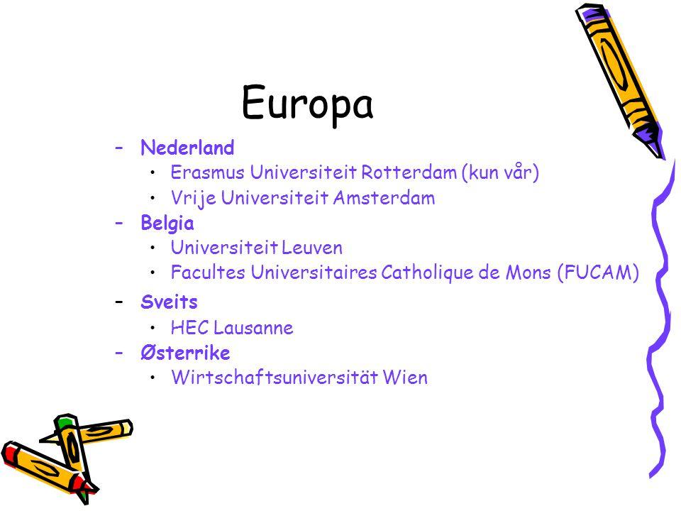 Europa –Nederland Erasmus Universiteit Rotterdam (kun vår) Vrije Universiteit Amsterdam –Belgia Universiteit Leuven Facultes Universitaires Catholique