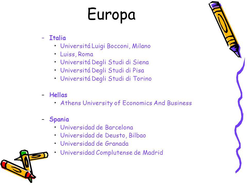 Europa –Italia Universitá Luigi Bocconi, Milano Luiss, Roma Universitá Degli Studi di Siena Universitá Degli Studi di Pisa Universitá Degli Studi di T