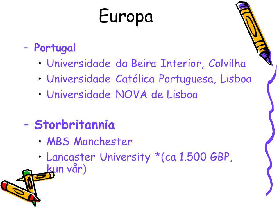 Europa –Portugal Universidade da Beira Interior, Colvilha Universidade Católica Portuguesa, Lisboa Universidade NOVA de Lisboa –Storbritannia MBS Manc