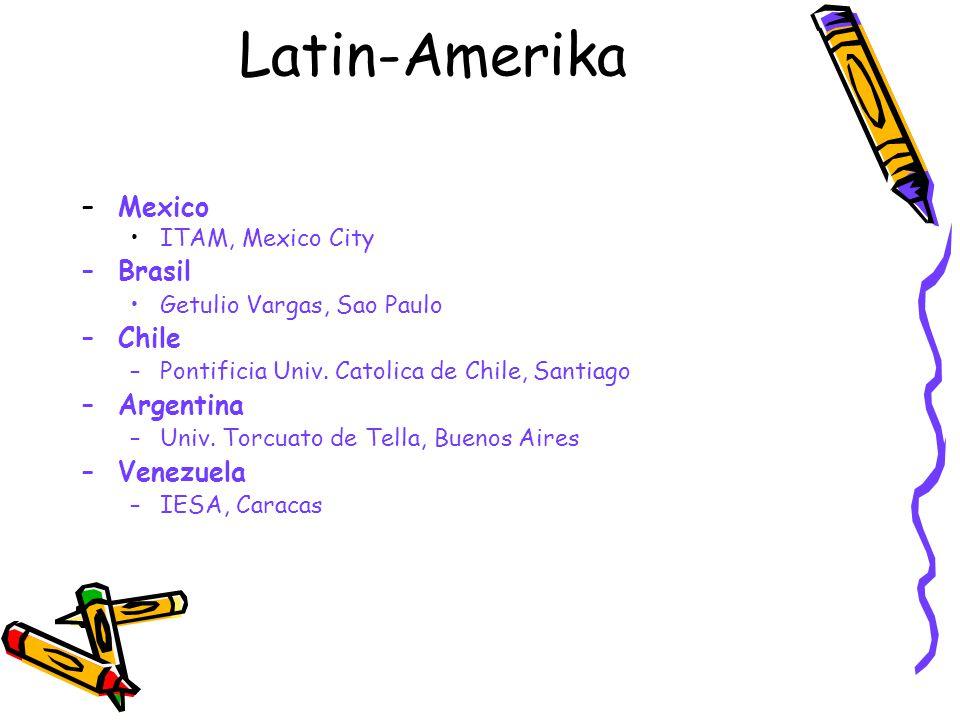 Latin-Amerika –Mexico ITAM, Mexico City –Brasil Getulio Vargas, Sao Paulo –Chile –Pontificia Univ. Catolica de Chile, Santiago –Argentina –Univ. Torcu