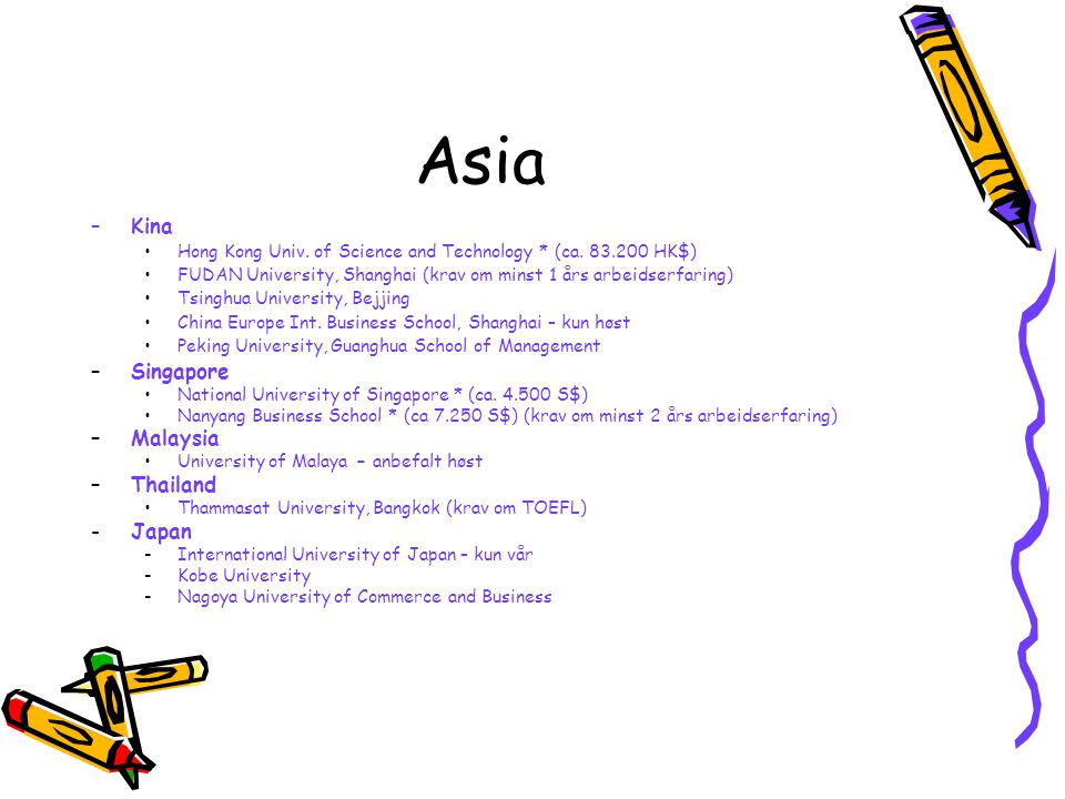 Asia –Kina Hong Kong Univ.of Science and Technology * (ca.