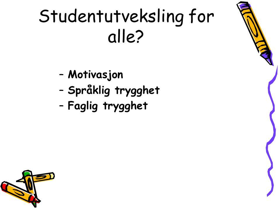 Studentutveksling for alle? –Motivasjon –Språklig trygghet –Faglig trygghet