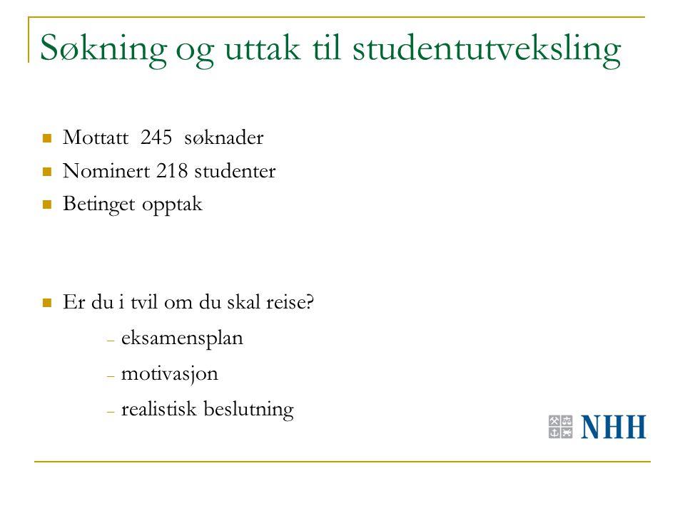 Søkning og uttak til studentutveksling Mottatt 245 søknader Nominert 218 studenter Betinget opptak Er du i tvil om du skal reise.