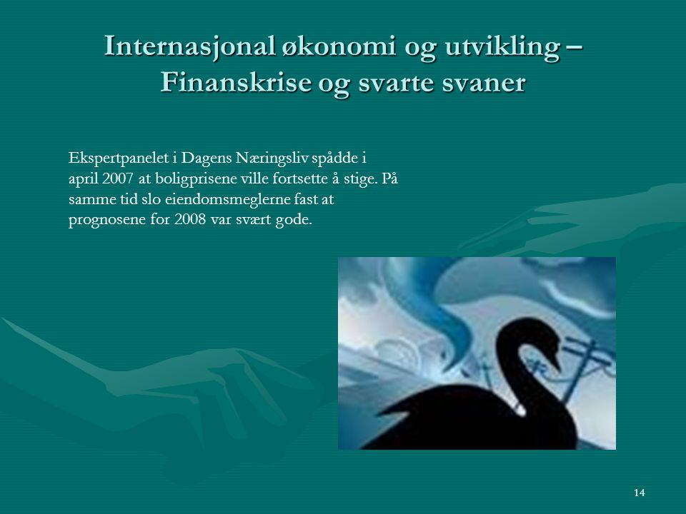Internasjonal økonomi og utvikling – Finanskrise og svarte svaner 14 Ekspertpanelet i Dagens Næringsliv spådde i april 2007 at boligprisene ville fort